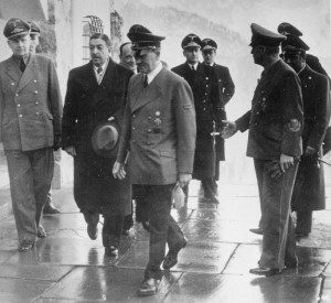 At the Obersalzberg, Adolf Hitler, accompanied by Reich Foreign Minister von Ribbentrop (right), receives the Prime Minister Zwetkowitsch of Yugoslavia for talks in February 1941